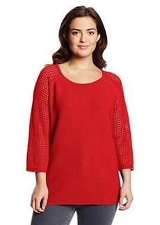 Jones New York Women's Plus-Size Textured Raglan Sleeve Pullover