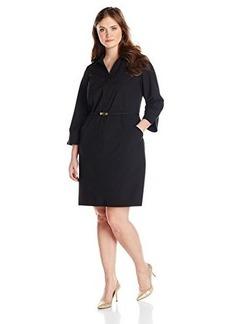 Jones New York Women's Plus-Size Y-Neck Shirt Dress