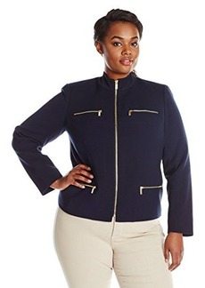 Jones New York Women's Plus-Size Zipper Detail Jacket