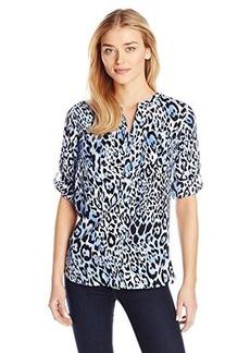 Jones New York Women's Pocketed Band Collar Shirt