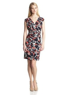 Jones New York Women's Printed Cap-Sleeve Dress