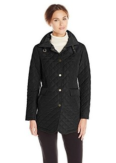 Jones New York Women's Quilted Barn Jacket with Faux-Leather Trim