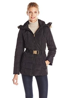 Jones New York Women's Quilted Down Coat with Detachable Faux Fur-Trimmed Hood