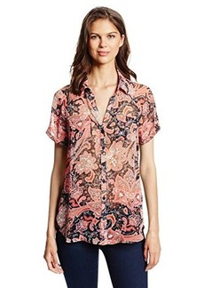 Jones New York Women's Raglan Short Sleeve Shirt with Tab Detail