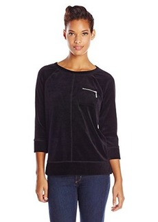 Jones New York Women's Raglan Sleeve Pullover with Pocket Black
