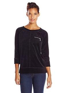 Jones New York Women's Raglan Sleeve Pullover with Pocket Black