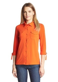 Jones New York Women's Roll-Cuff Button-Front Shirt