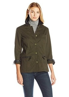 Jones New York Women's Roll Sleeve Jacket with Leather Trim