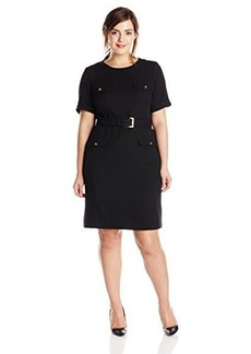 Jones New York Women's Short Sleeve Belted Sheath Dress
