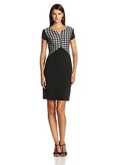 Jones New York Women's Short Sleeve Houndstooth Print Dress
