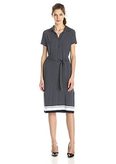 Jones New York Women's Short Sleeve Polkda Dot Shirt Dress
