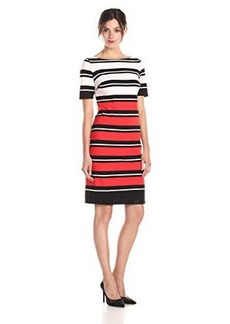 Jones New York Women's Short Sleeve Stripe Dress