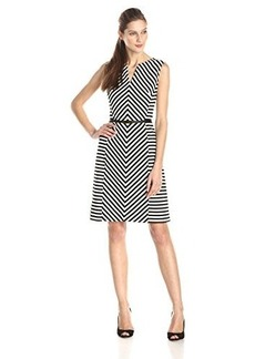 Jones New York Women's Sleeveless A-Line Striped Dress