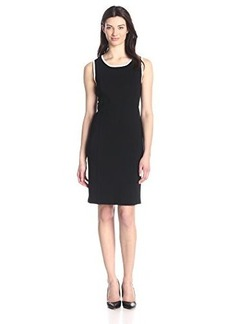 Jones New York Women's Sleeveless Black Crew Neck Dress