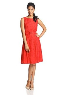 Jones New York Women's Sleeveless Burnout Fit-and-Flare Dress