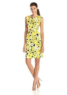 Jones New York Women's Sleeveless Floral-Printed Belted Sheath Dress
