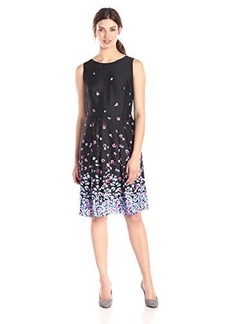Jones New York Women's Sleeveless Floral Printed Boat Neck Dress