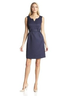 Jones New York Women's Sleeveless Jacquard Belted Dress