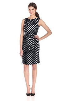 Jones New York Women's Sleeveless Polkda Dot Printed Dress