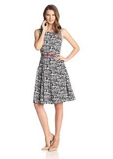 Jones New York Women's Sleeveless Printed Fit and Flare Dress