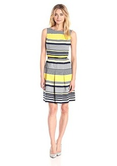 Jones New York Women's Sleeveless Stripe Fit and Flare Dress