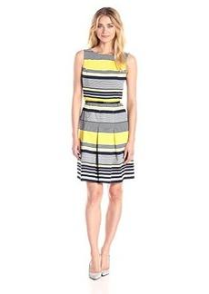 Jones New York Women's Sleeveless Stripe Fit and Flare Dress