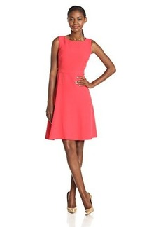 Jones New York Women's Sleeveless Topstitch Bodice A-line Dress