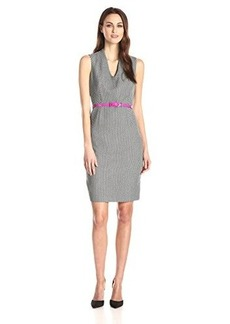 Jones New York Women's Sleeveless V Neck Belted Dress