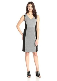 Jones New York Women's Sleeveless V-Neck Geo Print Sheath Dress