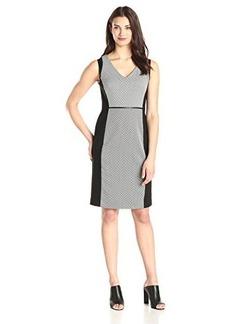 Jones New York Women's Sleeveless V-Neck Geo Print Sheath Dress