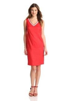 Jones New York Women's Solid V-Neck Detail Dress