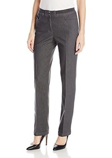 Jones New York Women's Straight Leg Pant with Rib Trim Charcoal