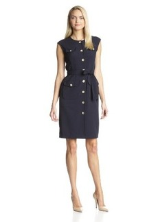 Jones New York Women's Stretch Crepe Sleeveless Shirt Dress