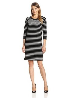 Jones New York Women's Stripe Three-Quarter Sleeve Dress