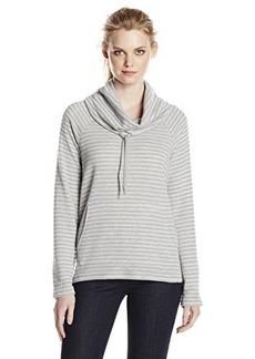 Jones New York Women's Stripe Cowl Neck Pullover Grey