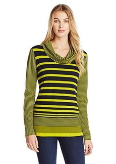 Jones New York Women's Stripe Cowl Neck Pullover Yellow