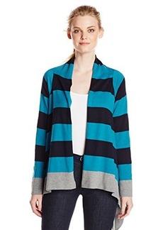 Jones New York Women's Stripe Drape Front Cardigan Teal