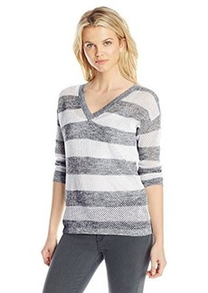 Jones New York Women's Stripe Mesh V-Neck Pull-Over