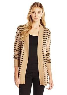 Jones New York Women's Stripe Open Front Cardigan Camel