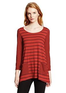 Jones New York Women's Stripe Patch Pocket Top Camel