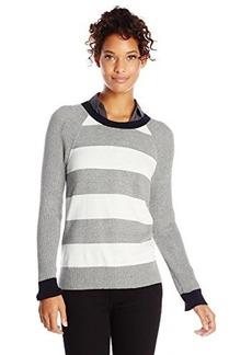Jones New York Women's Stripe Raglan Sleeve Pullover Grey