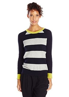 Jones New York Women's Stripe Raglan Sleeve Pullover Navy