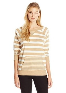 Jones New York Women's Stripe Raglan Sleeve Pullover Red