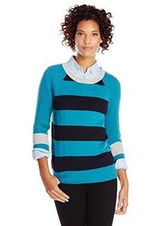 Jones New York Women's Stripe Raglan Sleeve Pullover Teal