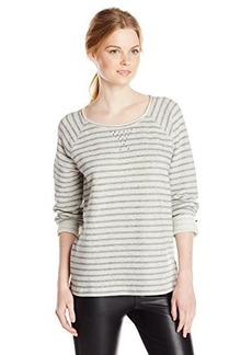 Jones New York Women's Stripe Scoop Neck Pullover with Studs Grey