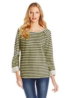 Jones New York Women's Stripe Scoop Neck Pullover with Studs Yellow