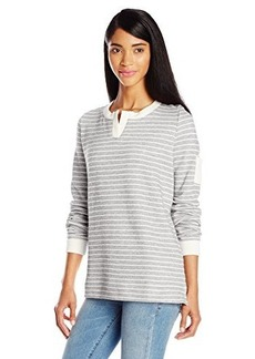 Jones New York Women's Stripe Slit Neck Pullover Black