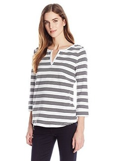 Jones New York Women's Stripe Split Neck Top