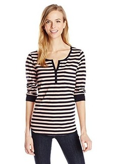 Jones New York Women's Striped 3/4 Sleeve Henley