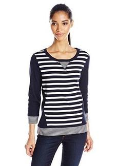 Jones New York Women's Striped 3/4 Sleeve Pullover